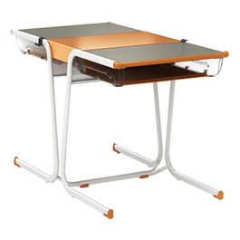 A&D Two-Student Cantilever Desk w/ Book Box & Idea Bridge