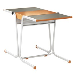 A&D Two-Student Cantilever Desk w/ Idea Bridge