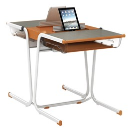A&D Two-Student Cantilever Desk w/ Book Box & Tablet Idea Bridge