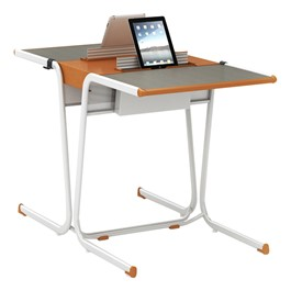 A&D Two-Student Cantilever Desk w/ Tablet Idea Bridge