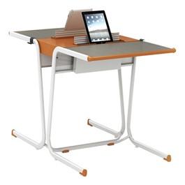 A&D Two-Student Cantilever Desk w/ Tablet Idea Bridge