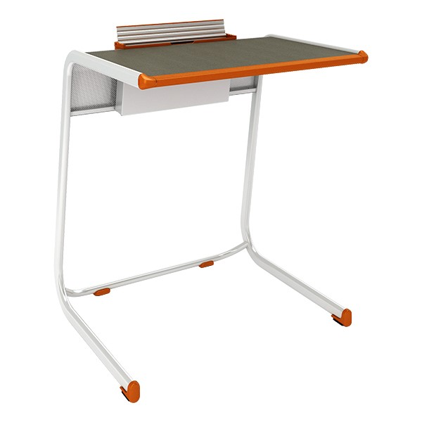 A&D Cantilever Student Desk w/ Tablet Holder - Holder up view