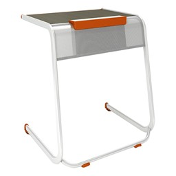 A&D Cantilever Student Desk w/ Tablet Holder - Holder down view