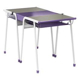 A&D Two-Student K-Leg Desk w/ Book Box & Idea Bridge