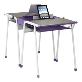 A&D Two-Student K-Leg Desk w/ Book Box & Tablet Idea Bridge