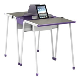 A&D Two-Student K-Leg Desk w/ Tablet Idea Bridge