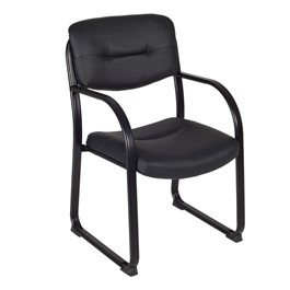 Crusoe Leather Side Chair w/ Arms - Black