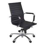 Solace Leather Executive Chair w/ Chrome Armrests - Black