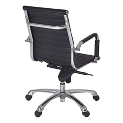 Solace Leather Executive Chair w/ Chrome Armrests - Back view