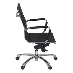 Solace Leather Executive Chair w/ Chrome Armrests - Side