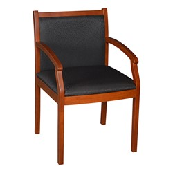 Regent Guest Chair - Fabric Upholstery - Black fabric w/ cherry finish