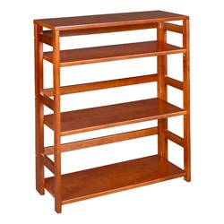 Flip Foldable Bookcase w/ Three Shelves - Shown in cherry