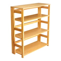 Flip Foldable Bookcase w/ Three Shelves - Shown in medium oak