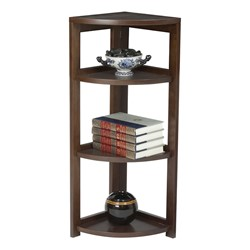 Flip Foldable Corner Bookcase - Mocha walnut