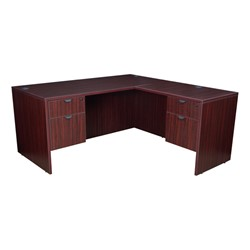 Legacy Series L-Shaped Workstation - Shown in mahogany
