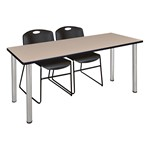 Kee Training Table w/ Two Zeng Stack Chairs - Beige top, chrome legs, black chairs