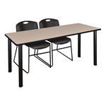 Kee Training Table w/ Two Zeng Stack Chairs - Beige top, black legs, black chairs
