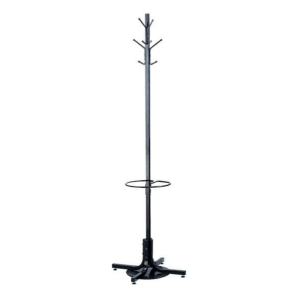Metal Costumer Coat Rack w/ Umbrella Stand<br>Shown in black