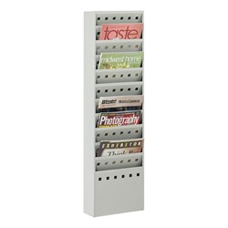 Steel Magazine Rack<br>Shown in gray w/ 11 vertical openings