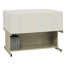Five-Drawer Steel Flat File Cabinet - White w/ optional base