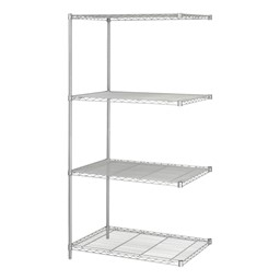 Industrial Wire Shelving Adder Unit - Shown in Gray