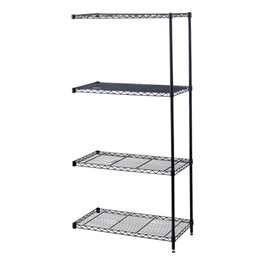 Industrial Wire Shelving Adder Unit - Shown in Black