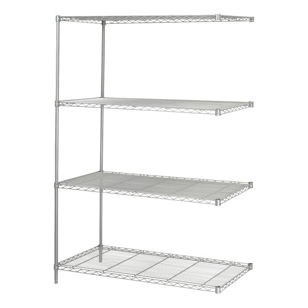 Industrial Wire Shelving Adder Unit - Shown in Metallic Gray