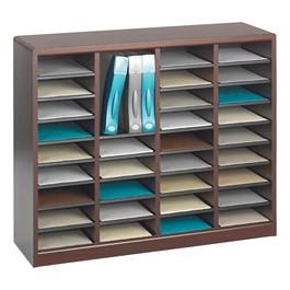 E-Z Stor Wood Literature Organizer (36 Compartments)<br>Shown in Mahogany