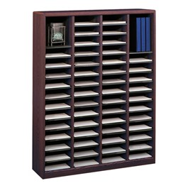 E-Z Stor Wood Literature Organizer (60 Compartments)<br>Shown in Mahogany