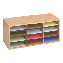 Wood/Corrugated Literature Organizer - Shown w/ 12 compartments