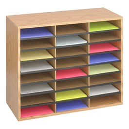 Wood/Corrugated Literature Organizer (24 Compartments)
