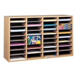 Wood Adjustable-Compartment Literature Organizer (36 Compartments)<br>Shown in oak