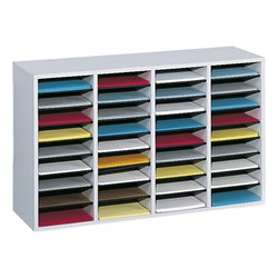Wood Adjustable-Compartment Literature Organizer (36 Compartments)<br>Shown in gray