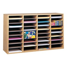 Wood Adjustable-Compartment Literature Organizer (36 Compartments)<br>Shown in oak