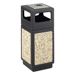 Aggregate Panel Outdoor Trash Can - Ash Urn/Side Openings