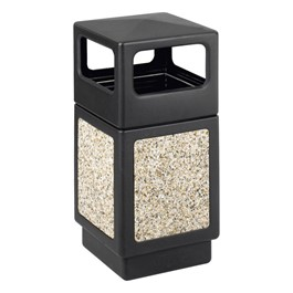 Aggregate Panel Outdoor Trash Can - Side Openings
