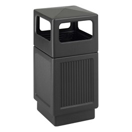 Recessed Panel Outdoor Trash Can - Side Openings