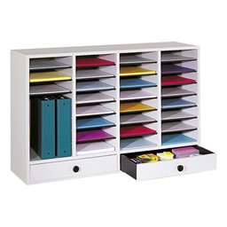 Wood Adjustable-Compartment Literature Organizer (32 Compartments & Two Drawers)<br>Shown in gray
