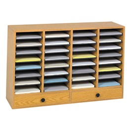 Wood Adjustable-Compartment Literature Organizer (32 Compartments & Two Drawers)<br>Shown in oak