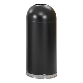Dome-Top Waste Receptacle w/ Open Top<br>Shown in black