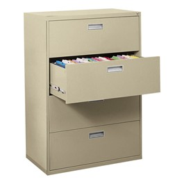 "Lateral File Cabinet w/ Four Drawers & Aluminum Handles (36"" W)"