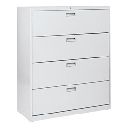 """Lateral File Cabinet w/ Four Drawers & Aluminum Handles (42\"""" W)"""