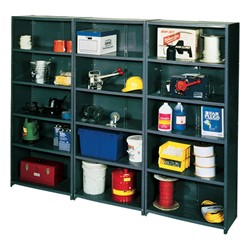 "HeviLoad Plus II Series Industrial Grade Shelving - Closed Back<br>Three 12"" D units shown"
