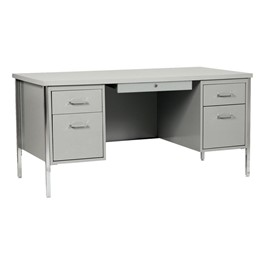 "500 Series Double-Pedestal Teacher Desk (30"" D x 60\"" W) - Gray metal & gray desktop"