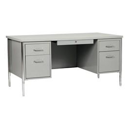 "500 Series Double-Pedestal Teacher Desk (30\"" D x 60\"" W) - Gray metal & gray desktop"
