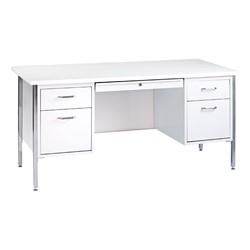 "500 Series Double-Pedestal Teacher Desk (30"" D x 60"" W) - White metal & arctic desktop"