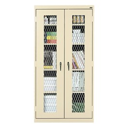 Clear View Series Tall Storage Cabinet w/ Expanded Metal Front