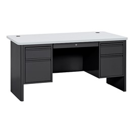 700 Series Heavy Duty Teacher\'s Desk w/ Double Pedestals - Black base & gray nebula desktop