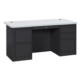 900 Series Heavy Duty Teacher\'s Desk w/ Double Pedestals - Black/Gray Nebula top