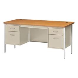 "600 Series Steel Teacher Desk - Double Pedestal (60\"" W x 30\"" D) - Putty base & medium oak desktop"